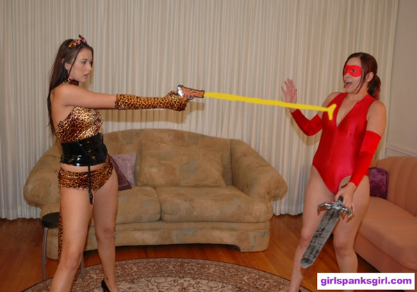 Catgirl battles Ultra Red in a Superheroine Spank-Off