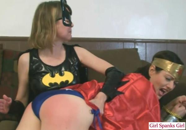 Clare spanks Snow: Wonder Woman vs Batgirl cosplay spanking