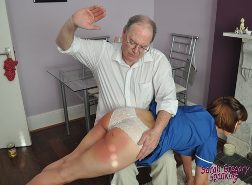 Uncle Paul spanks Leia over his knee for flooding his house