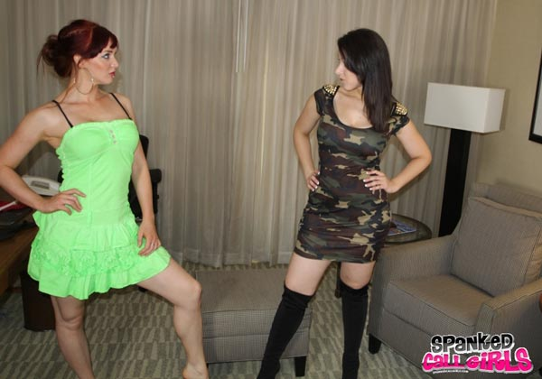 Two callgirls square off and spank each other in Sarah Gregory vs Veronica Ricci