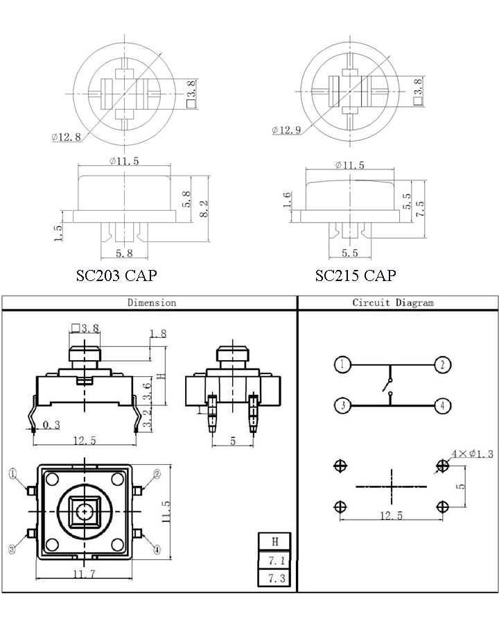 momentary push button switch 12mm square
