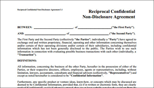 Business Non Disclosure Agreement Non Disclosure Agreement Template