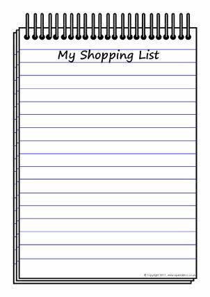 Lists Writing Frames and Printable Page Borders KS1 \ KS2 - SparkleBox - shopping lists