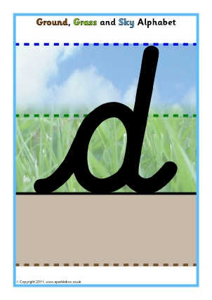Ground, Grass and Sky Handwriting Aids, Activities  Printables