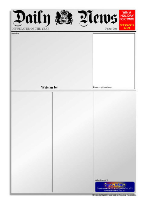 Newspaper Writing Frames and Printable Page Borders KS1  KS2 - Newspaper Templates For Kids