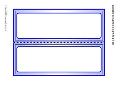 Editable Coloured Class Group Table Signs Templates (SB7618 - editable signs