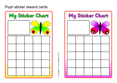 Pupil Sticker Reward Cards (SB4198) - SparkleBox - sticker chart