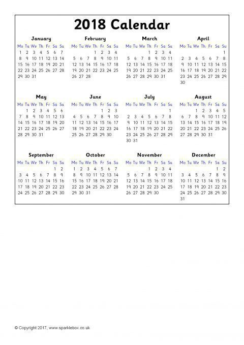 2018 Calendars \u2013 Year to View (SB6937) - SparkleBox