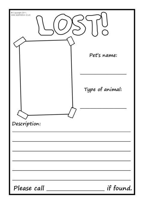 Lost Pet Poster Writing Frames \u2013 Blank (SB4250) - SparkleBox