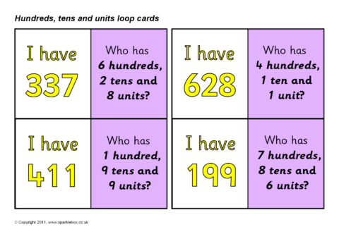 Hundreds, Tens and Units/Ones Place Value Loop Cards (SB5033 - place value unit