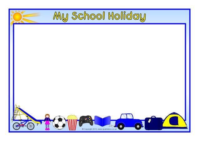 My School Holiday A4 Page Borders (SB7743) - SparkleBox