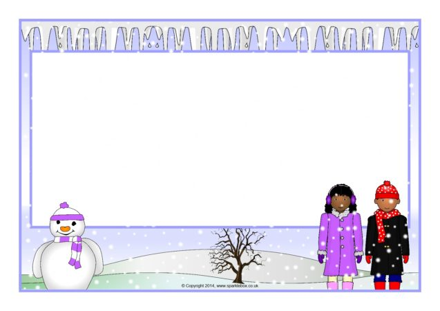 Winter-Themed A4 Page Borders (SB11026) - SparkleBox - snowflake borders for word