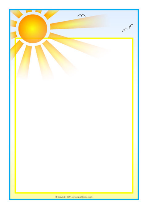 Weather and seasons A4 page borders - SparkleBox - rainbow page border