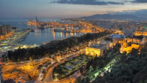 View of the Port in Malaga CIty