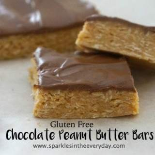 Gluten Free Chocolate Peanut Butter Bars - no bake and delicious!!