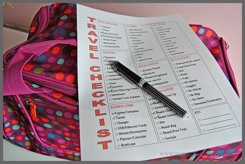 Simple Vacation Packing Free Printable Travel Checklist - Sparkles - summer vacation checklist