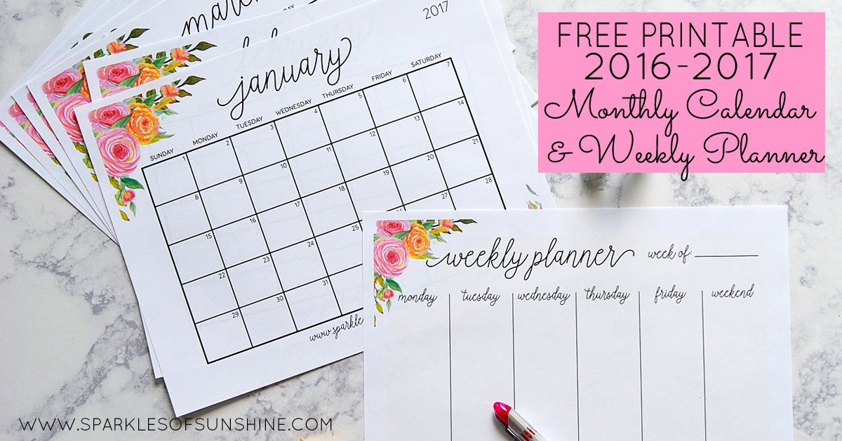 Free Printable 2017 Monthly Calendar and Weekly Planner - Free Printable Weekly Planner