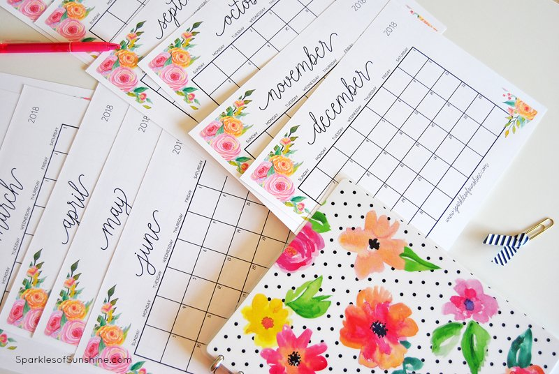 Free Printable 2018 Monthly Calendar With Weekly Planner - Sparkles