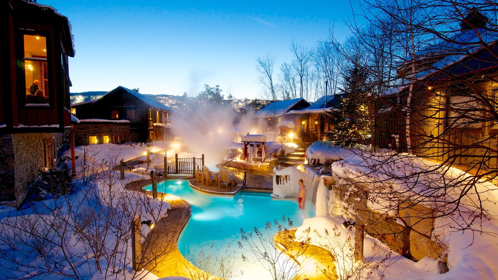 Winter Sunset, Blue Mountain Scandinave Spa, Spas of America