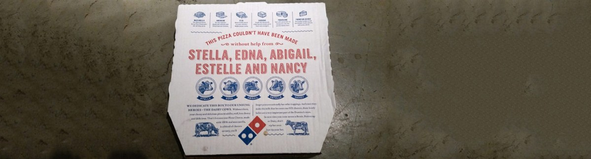 Domino's pizza box wants you to look the cow you're eating in the eye