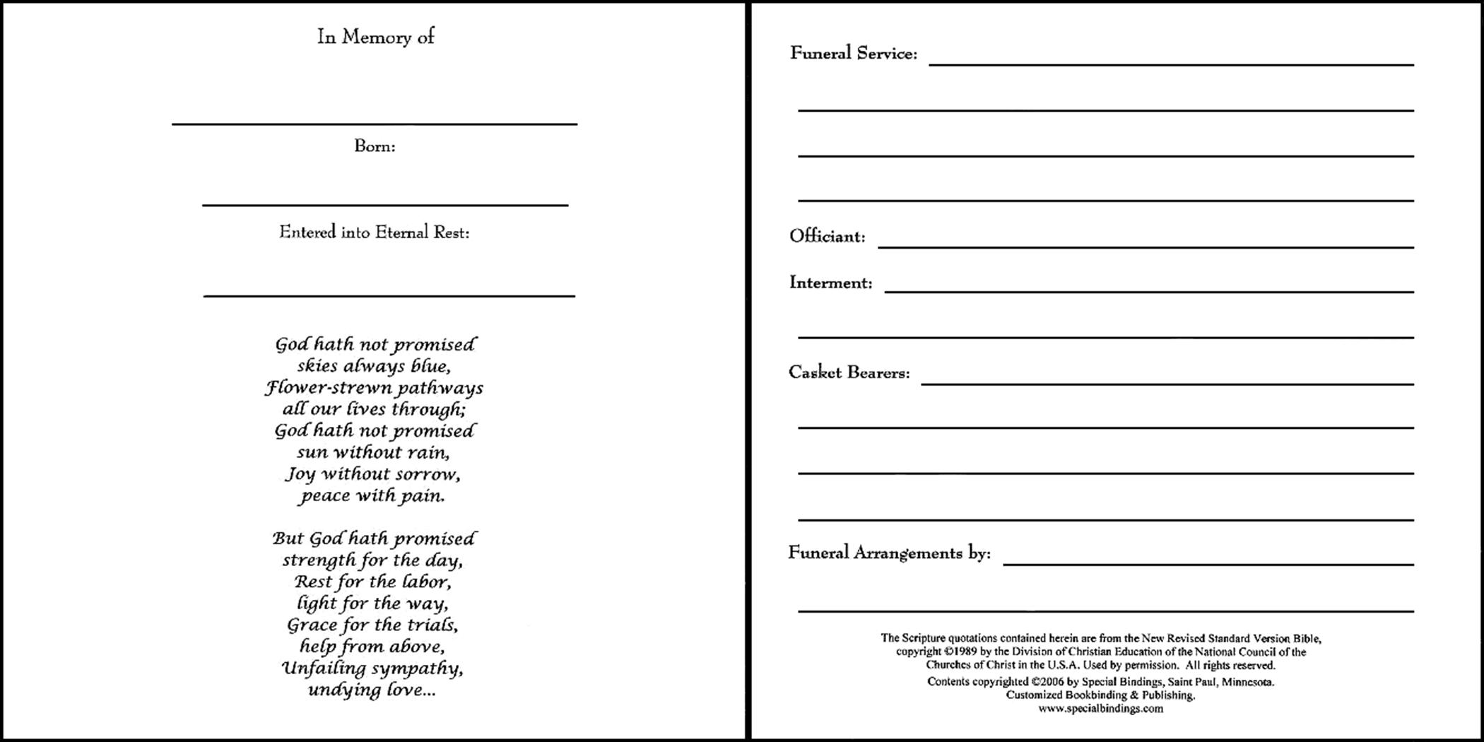 memorial service guest book template www