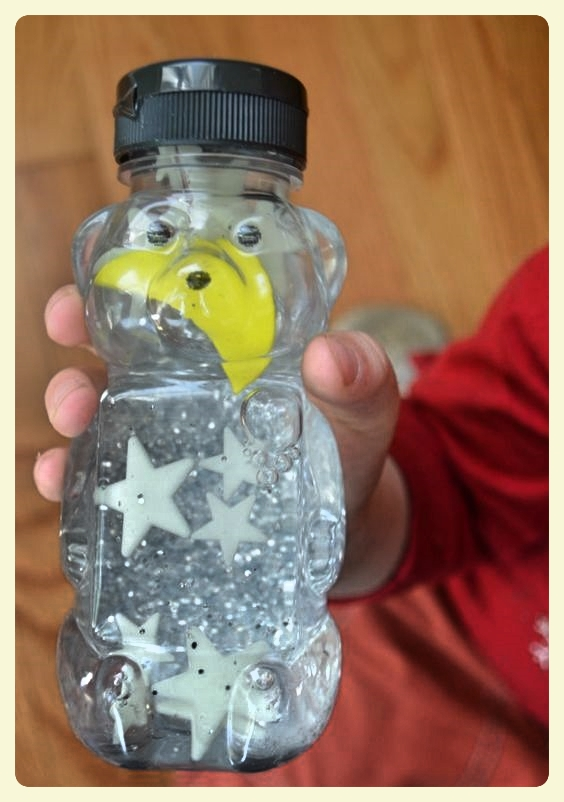 Good Night Moon sensory bottle. Featured by Special Learning House.