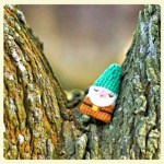 Knitted sleeping dwarf finger puppet for children with autism and other special needs at LE CHEMIN ABA in Paris, France.