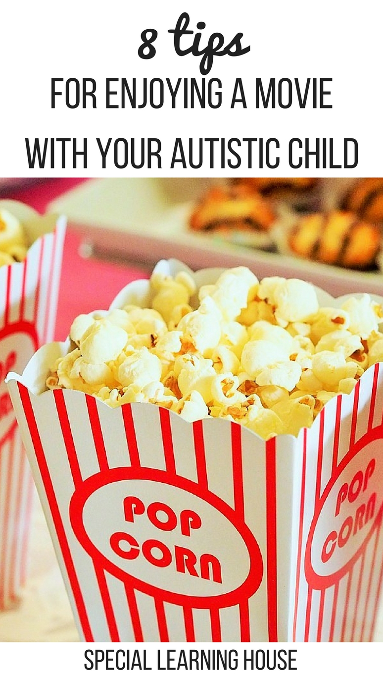 8 Tips for enjoying a movie with your autistic child. Decrease stress and increase family fun! | speciallearninghouse.com