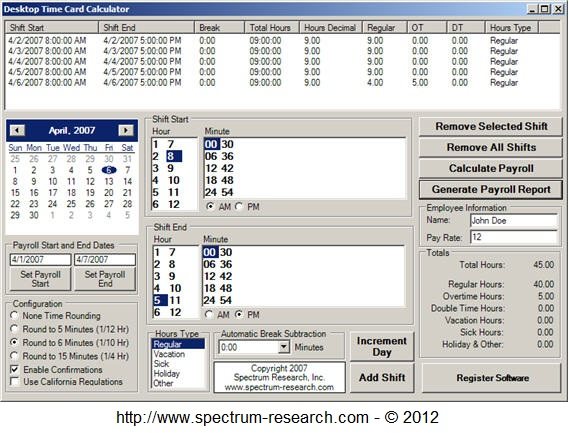 Time Card Calculator Software