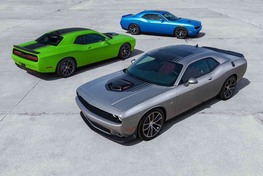 Clockwise starting from top: 2015 Dodge Challenger SXT, 2015 Dod