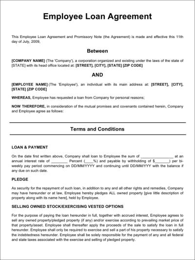 Employee Loan Agreement - Template Free Download | Speedy Template