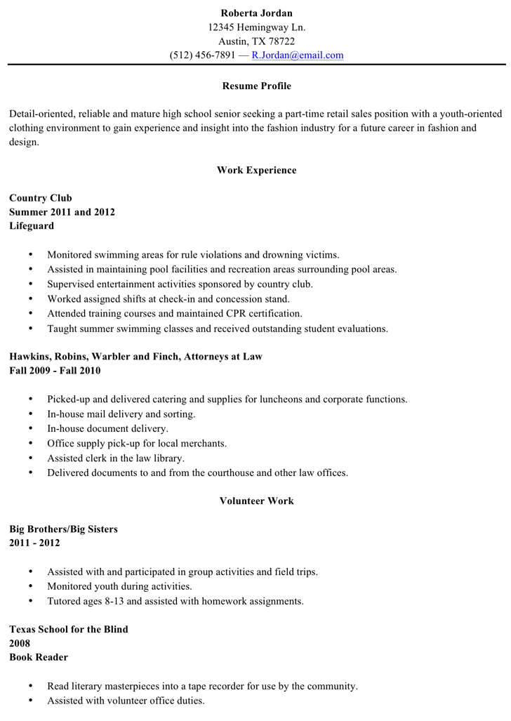 sample of resume for highschool graduate