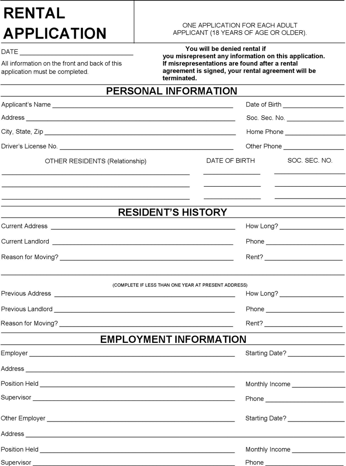 free home rental application form