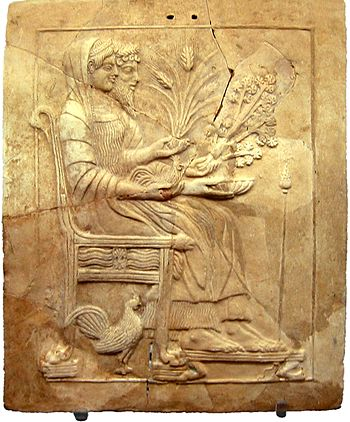 Pinax of Persephone and Hades on the throne. F...