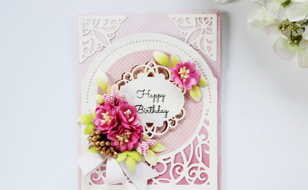 Elegant 3D Vignettes Inspiration Happy Birthday Card with Hussena