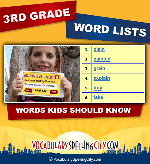 vocabulary words for 3rd grade