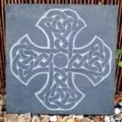 Celtic knotwork cross carved slate plaque