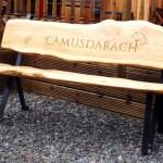 Camusdarach oak garden bench with letter carving