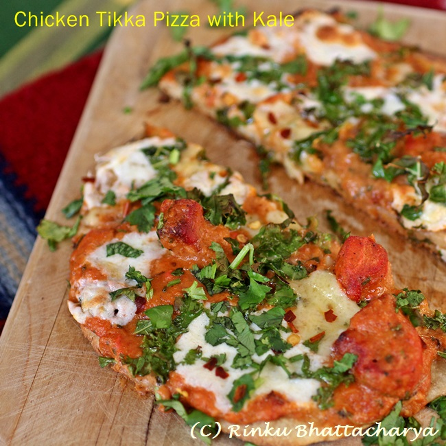 Chicken Tikka Pizza with Onions, Peppers and Cheddar