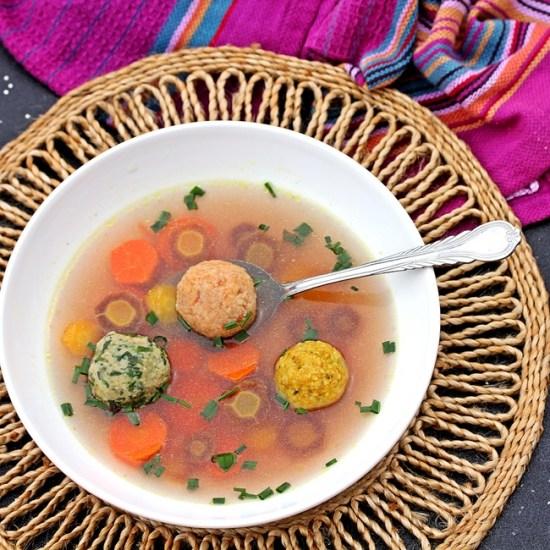 Tri-Colored Matzoh Ball soup