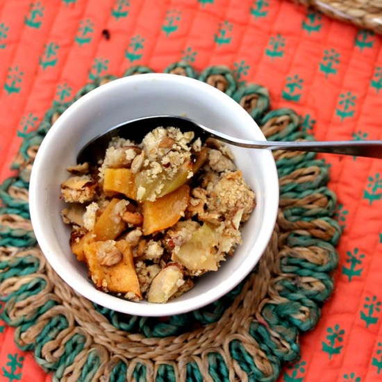 Sneaky Apple Persimmon Crisp with Almonds and Sunflower Seeds