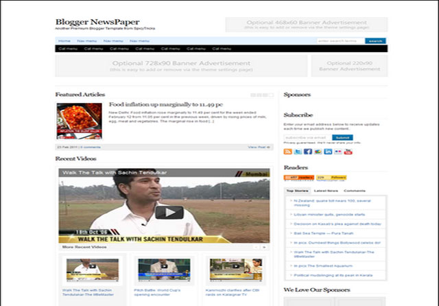 Blogger NewsPaper bloggerne Top 5 Best Free Premium Blogger Templates 2012