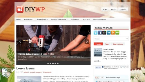 diywp blogger template Top 10 Beautiful Adsense Optimized Blogger Templates for April 2013