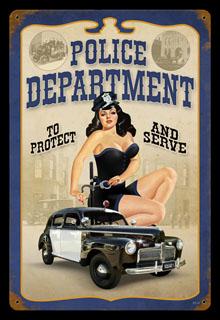 American Girl Wallpaper Hd Police Pin Up V518 Vintage Tin Sign Cool Stuff