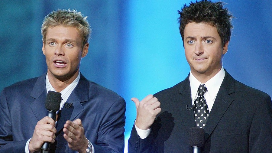 """Ryan Seacrest and Brian Dunkleman at FOX-TV's """"American Idol"""" finale at the Kodak Theatre in Hollywood, Ca. Wednesday, Sept. 4, 2002. Photo  by Kevin Winter/ImageDirect"""