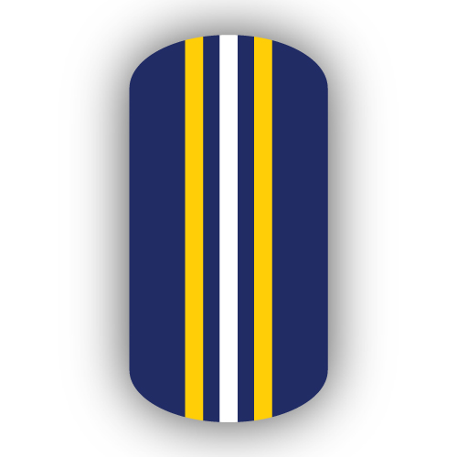 Navy Blue, Gold  White Triple Vertical Striped Nail Wraps - vertical designs