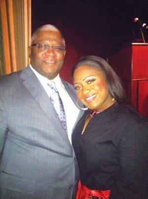 CFMF Founder Larry Fitzgerald with Jamecia  Bennett at the Metropolitan Ballroom.