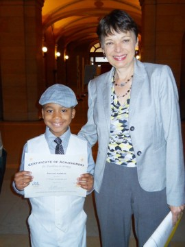 Senator Papas and Vincent Smith with his award certificate Photo and story from Urban Academy
