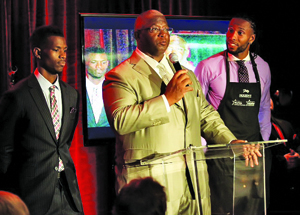 (l-r) Marcus Fitzgerald, Larry Fitzgerald, Sr. and Larry Fitzgerald, Jr. at Morton's Photo by Bruce Yeung