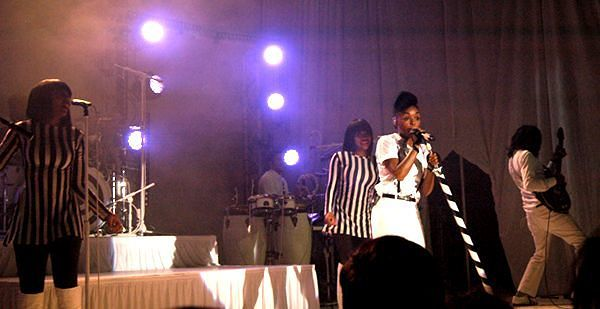 Janelle Monae with members of her band at The Skyway Theater Photos by Jamal Denman